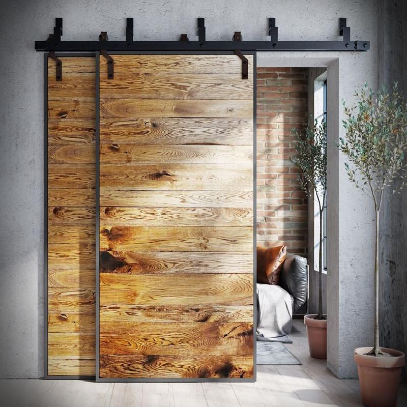 Sliding oak door in steel frame METAL DESK