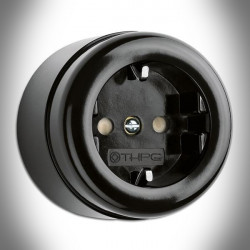 Surface Mounted Outlet/Electrical Socket THPG With Integrated Child Protection Bakelite Black