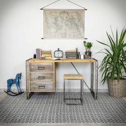 Desk with metal drawers STEEL WOOD