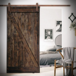 Wooden Sliding Door Z Shape In Steel Frame