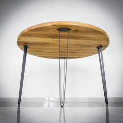 oak tabletops and steel legs