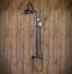 Twin Head Shower Kit Wall Mounted DERBY Black