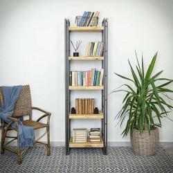 Narrow bookcase STEEL WOOD