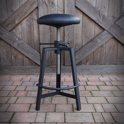 Stool, industrial upholstered barbecue