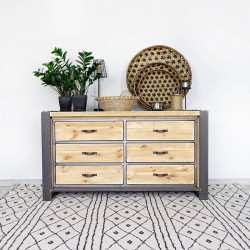 Industrial Chest of Drawers With Wooden Drawers FACTORY
