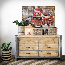 Industrial Chest of Drawers With Wooden Drawers FACTORY PINE