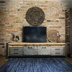 LARGE LOFT TV CONSOLE CABINET WITH METAL DRAWERS FACTORY 2