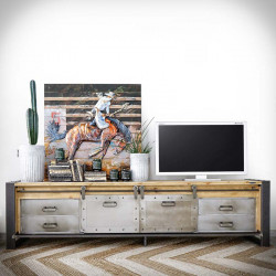Wide industrial TV cabinet FACTORY PINE 5