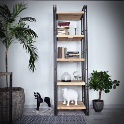 Narrow bookcase STEEL WOOD