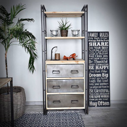 Wide bookcase with drawers STEEL WOOD