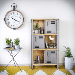 Industrial bookcase STEEL WOOD 1