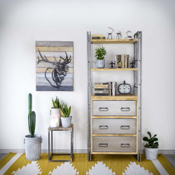 Industrial bookcase with drawers STEEL WOOD 2