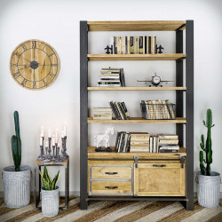 Industrial bookcase FACTORY PINE 2