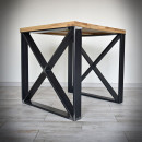 steel leg with wooden tabletop
