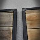 grey and light brown doors